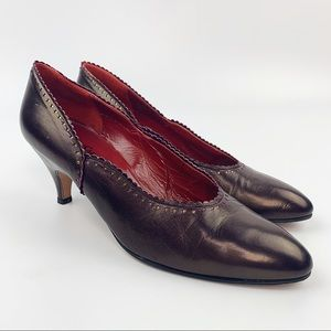 Vtg YVES SAINT LAURENT Maroon Leather Heel Scallop